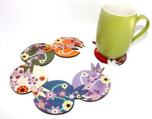 Colorful pomegranate coasters