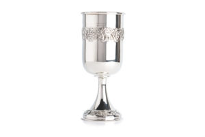 Tall straight sterling silver wine goblet