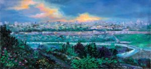 Contemporary modern Jerusalem Rolled canvas print