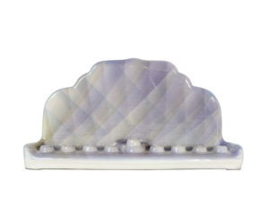Purple ceramic menorah