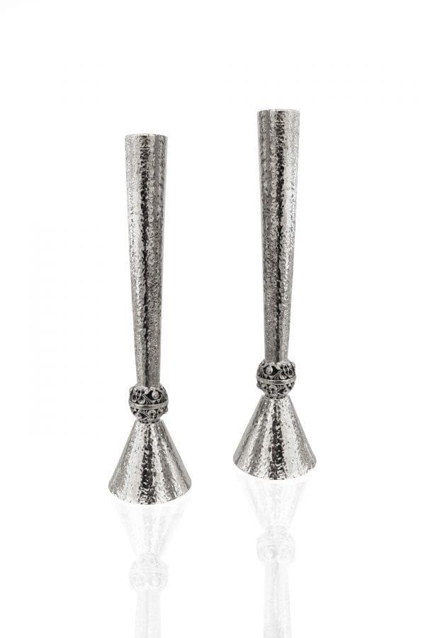 Sterling silver candlesticks Hammered