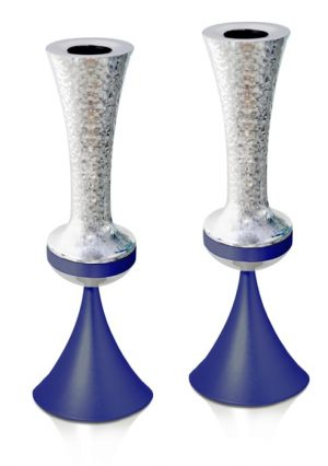Hammered BLUE Candlesticks