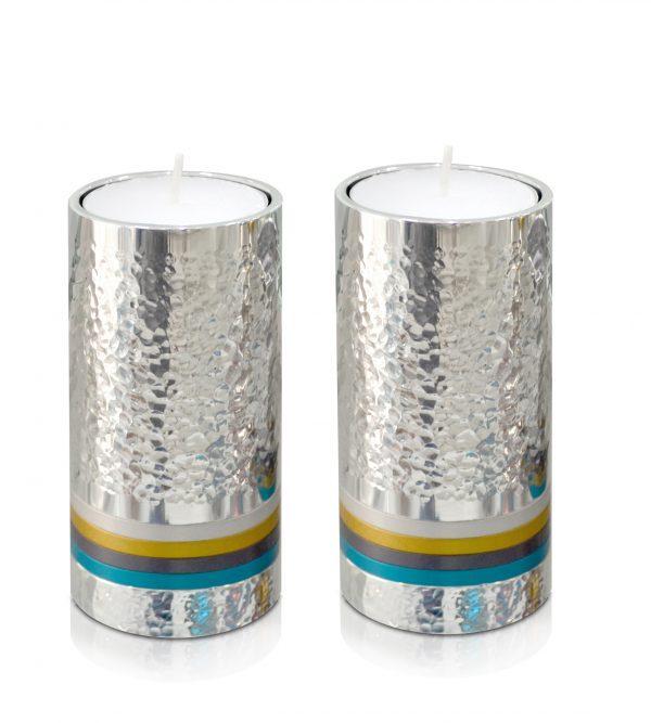 Modern hammered candlesticks