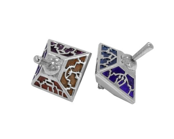 Silver Colorful Enamel Dreidel