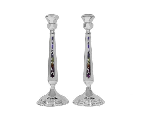Extra Large 925 Sterling Silver Heavy Candlesticks with Colorful Enamel