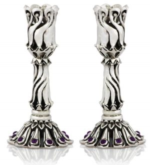 Sterling silver candlesticks combining antique and modern design