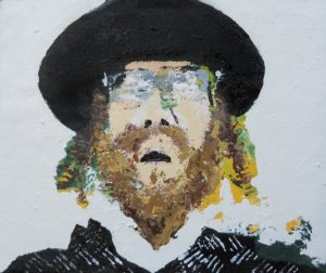 An organic painting of a Rabbi, an important figure in the Jewish tradition, in the Jewish religion, the Rabbi serves as a spiritual teacher and a moral for the Jews.