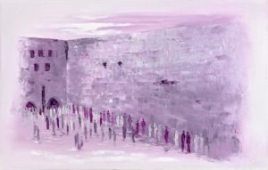 Mixed media Purple western wall Kotel Jewish Art