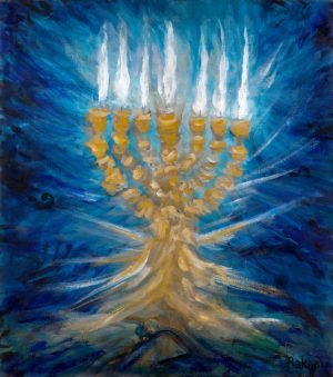 Hanukkah Menorah that lights the Chanukah holiday painting print canvas
